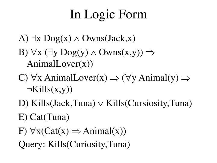 In Logic Form