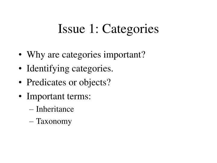Issue 1: Categories