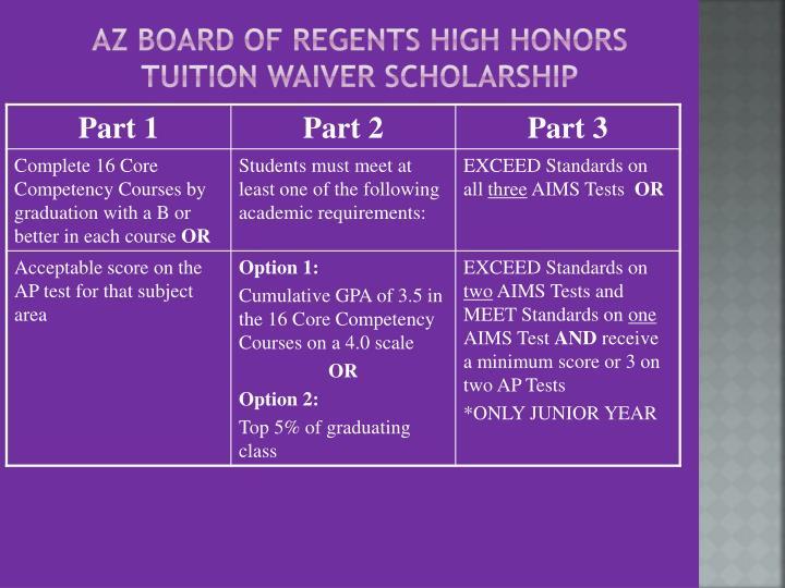 AZ Board of Regents High Honors