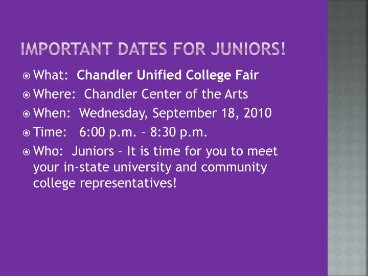 Important Dates for Juniors!