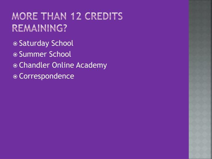 More than 12 credits Remaining?