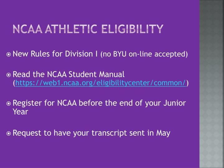 NCAA Athletic Eligibility