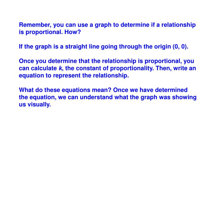 Remember, you can use a graph to determine if a relationship is proportional. How?