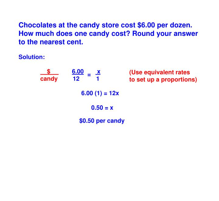 Chocolates at the candy store cost $6.00 per dozen. How much does one candy cost? Round your answer to the nearest cent.