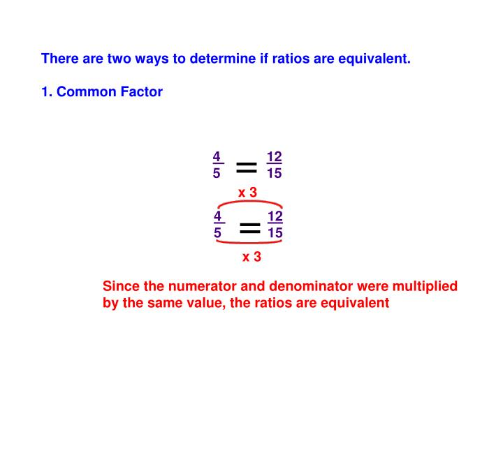 There are two ways to determine if ratios are equivalent.