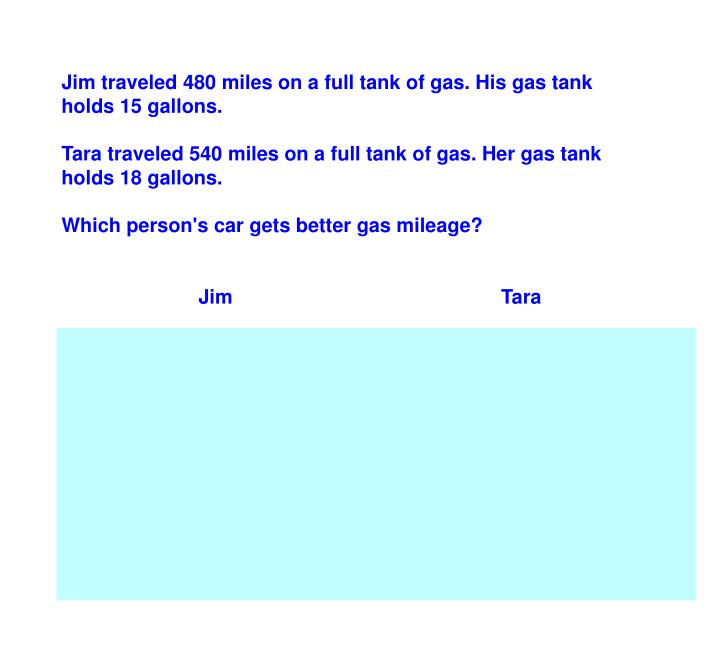 Jim traveled 480 miles on a full tank of gas. His gas tank holds 15 gallons.