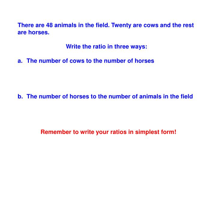 There are 48 animals in the field. Twenty are cows and the rest are horses.