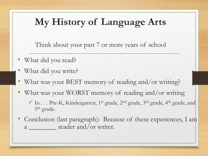 My History of Language Arts