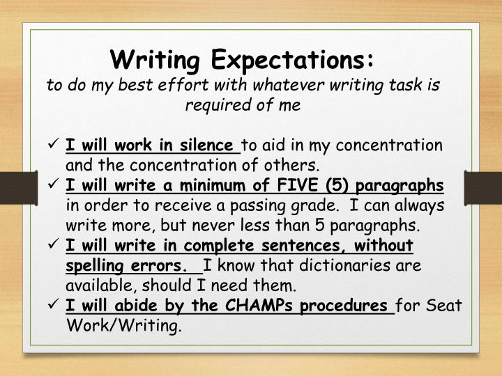 Writing Expectations: