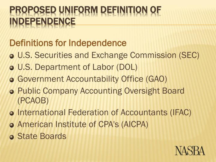 Definitions for Independence