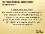 proposed uniform definition of independence9