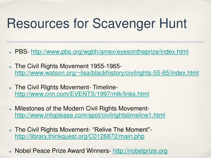 Resources for Scavenger Hunt