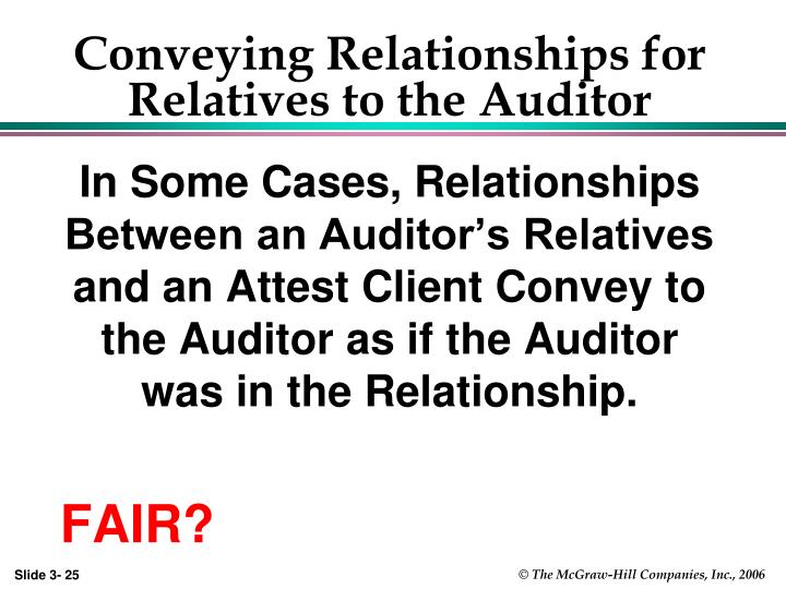 Conveying Relationships for Relatives to the Auditor