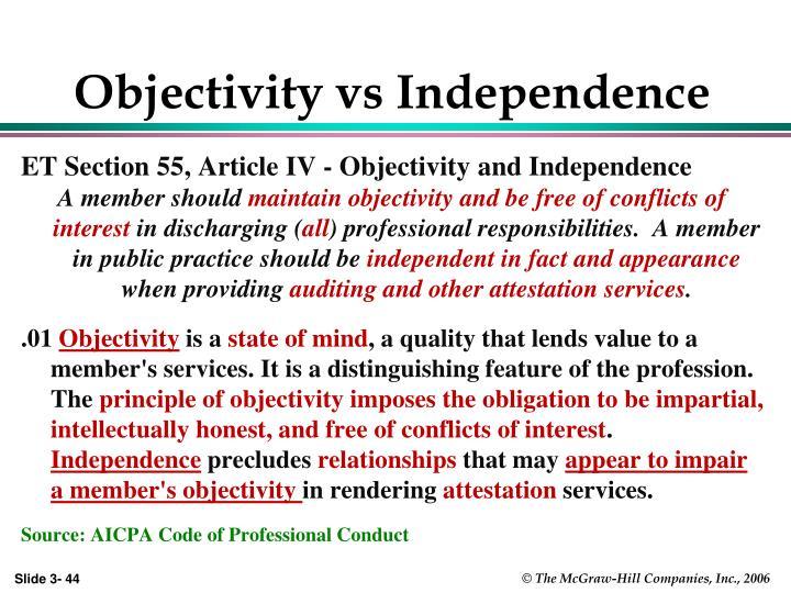 Objectivity vs Independence