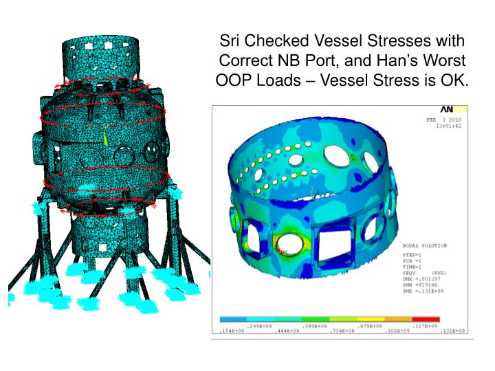Sri Checked Vessel Stresses with Correct NB Port, and Han's Worst OOP Loads – Vessel Stress is OK.
