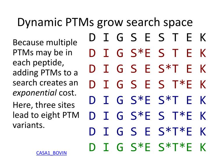 Dynamic PTMs grow search space