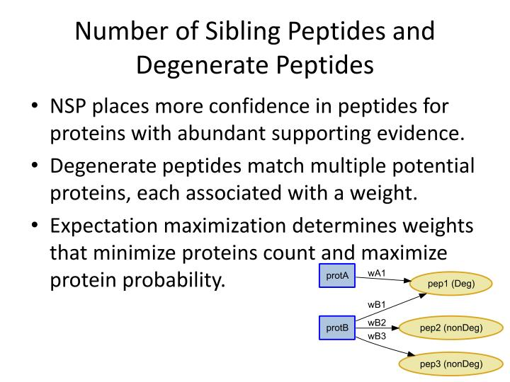Number of Sibling Peptides and Degenerate Peptides