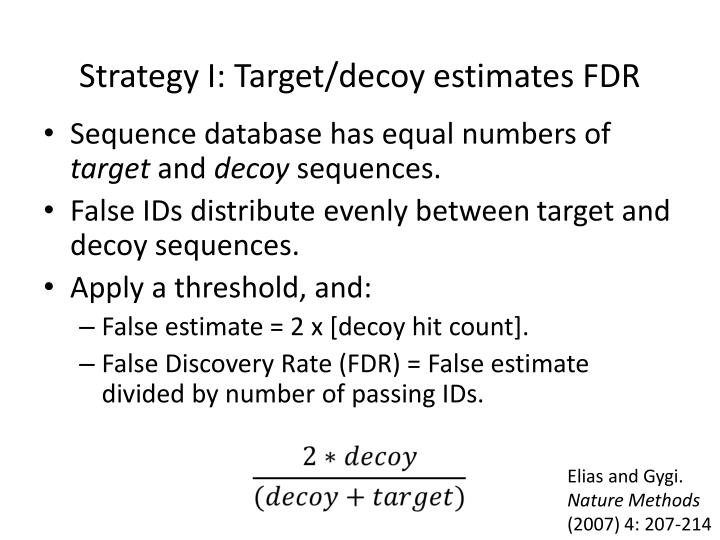 Strategy I: Target/decoy estimates FDR