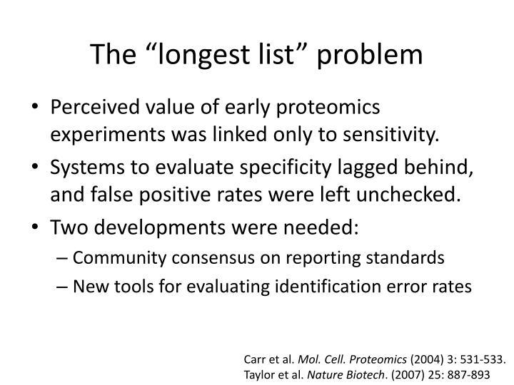 """The """"longest list"""" problem"""