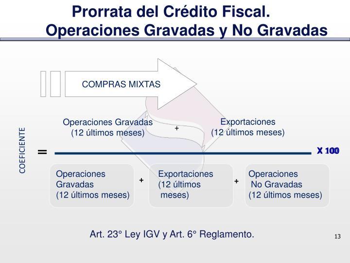 Prorrata del Crédito Fiscal.