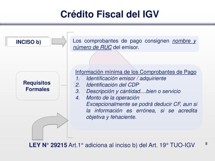 Crédito Fiscal del IGV