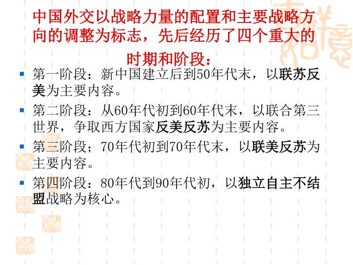 中国外交以战略力量的配置和主要战略方向的调整为标志,先后经历了四个重大的时期和阶段: