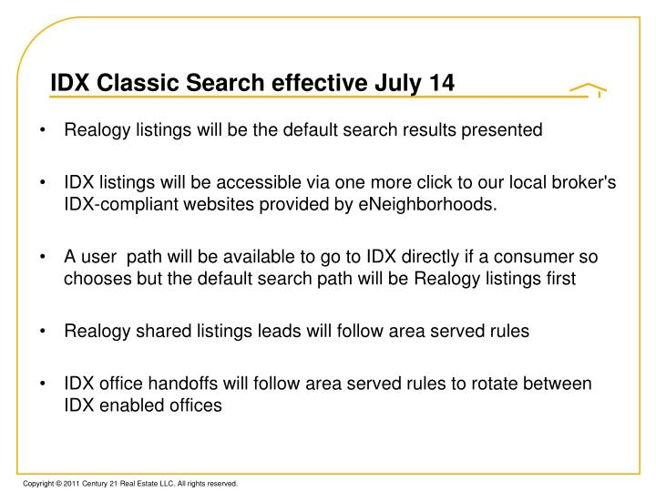 Idx classic search effective july 14