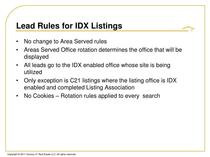 Lead Rules for IDX Listings