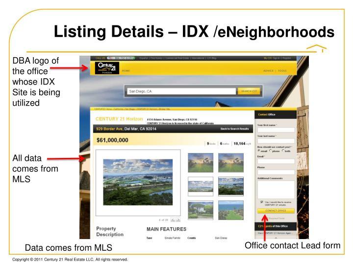 Listing Details – IDX /