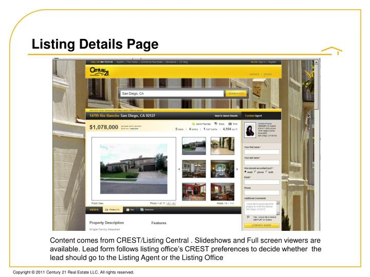 Listing Details Page