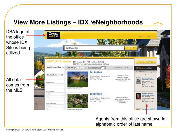 View More Listings – IDX /eNeighborhoods