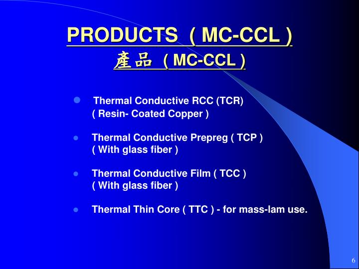 PRODUCTS  ( MC-CCL )