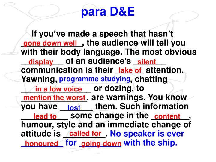 para D&E
