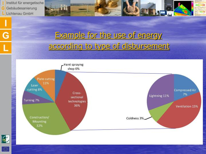 Example for the use of energy according to type of disbursement