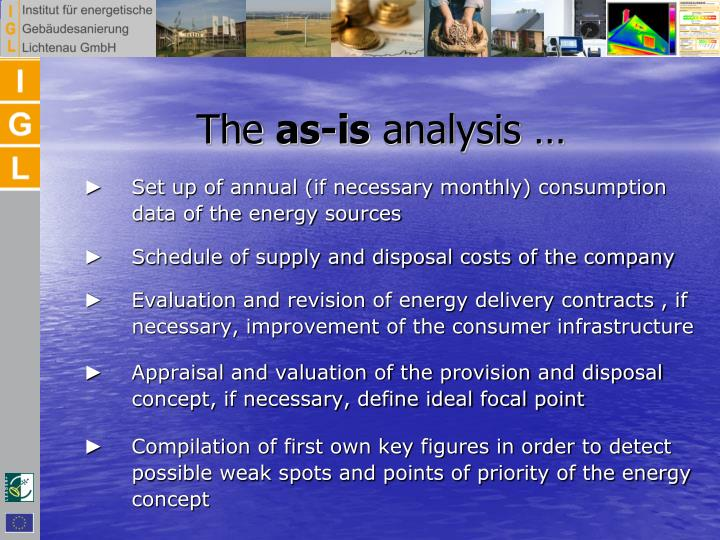 ►    Set up of annual (if necessary monthly) consumption data of the energy sources