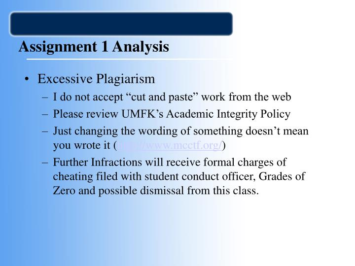 Assignment 1 analysis