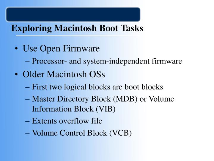Exploring Macintosh Boot Tasks