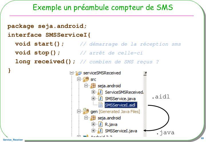 Exemple un préambule compteur de SMS