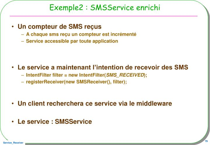 Exemple2 : SMSService enrichi