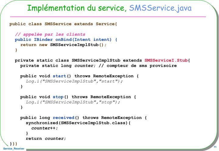 Implémentation du service,