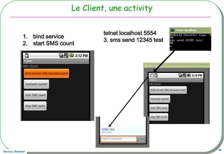 telnet localhost 5554