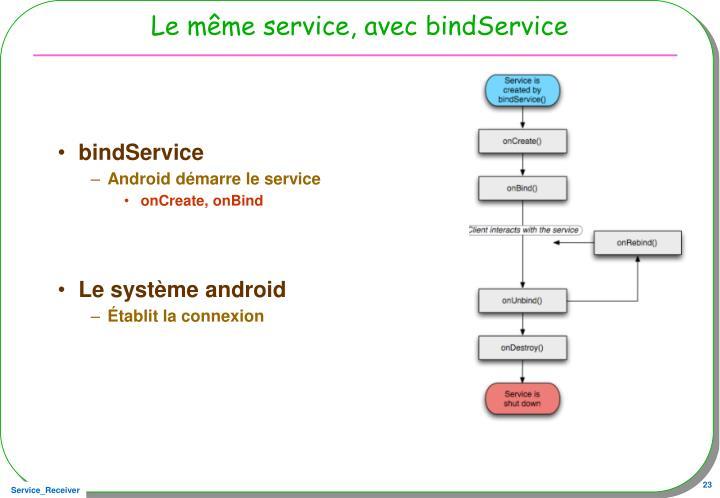Le même service, avec bindService