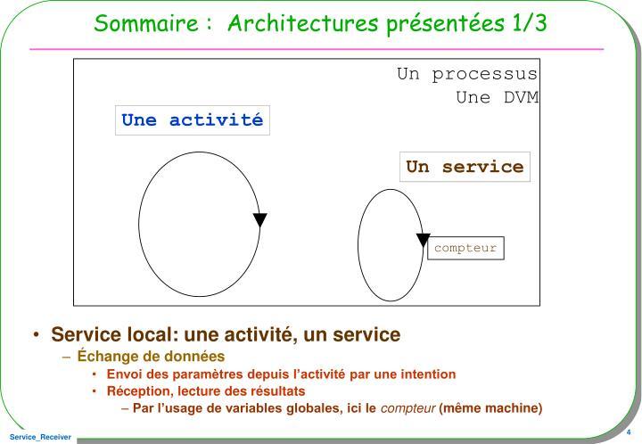Sommaire :  Architectures présentées 1/3