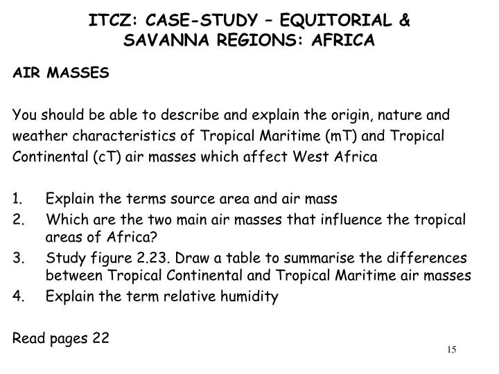 ITCZ: CASE-STUDY – EQUITORIAL & SAVANNA REGIONS: AFRICA