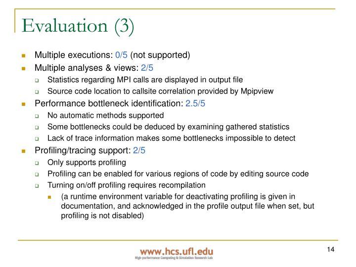 Evaluation (3)