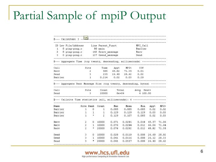 Partial Sample of mpiP Output