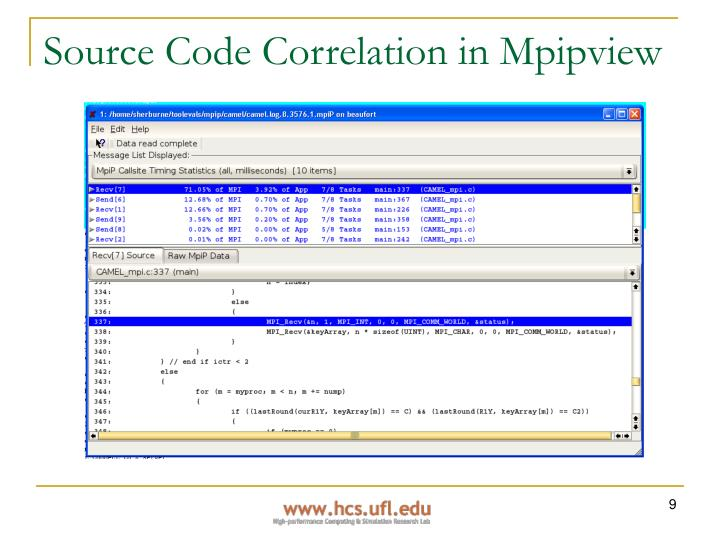 Source Code Correlation in Mpipview