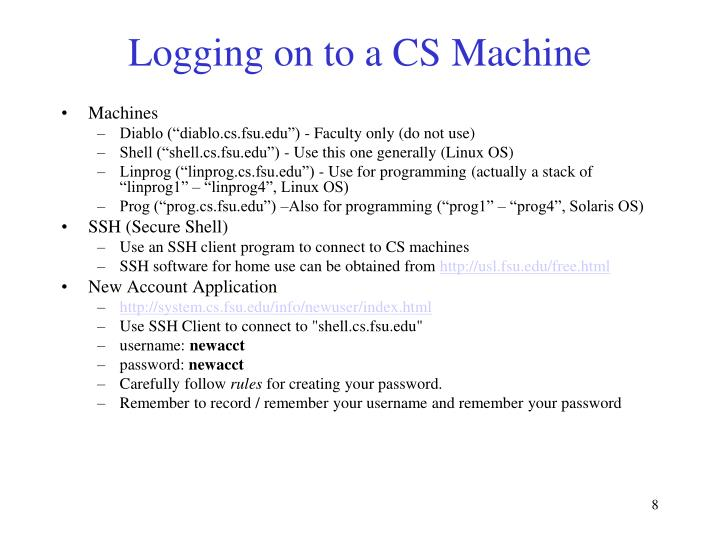 Logging on to a CS Machine