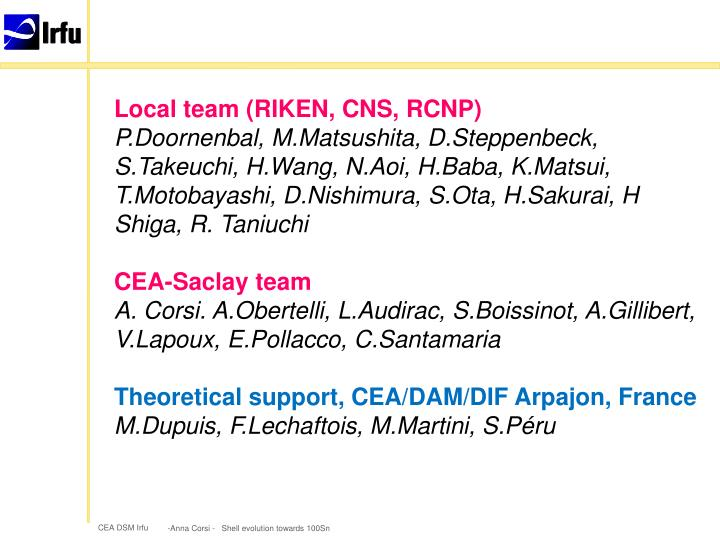 Local team (RIKEN, CNS, RCNP)