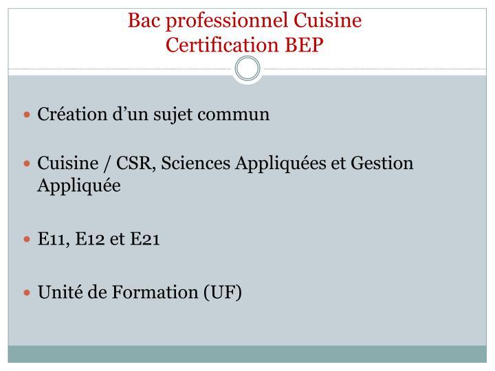 Bac professionnel Cuisine